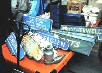 <I>See anything you fancy?</I> Miscellaneous items for sale at the <I>Perth Railfair</I> in April 1985.<br><br>[David Panton&nbsp;/04/1985]