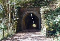 Old Woodhouselee tunnel at Auchendinny on the Penicuik branch on 5 October. View looks southwest towards the station and the remains of Dalmore Mill. The old mill, which stood in the area between the tunnels dated from 1837 and final closure in 2004 brought to an end a long history of mills and paper - making on this part of the North Esk.<br><br>[John Furnevel 05/10/2007]