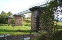 View east over Drymen Viaduct in October 2007 showing the old piers now supporting the pipeline and walkway.<br><br>[John Furnevel&nbsp;11/10/2007]
