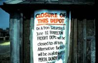Notice at Woodside and Burrelton station in June 1982.<br><br>[David Panton&nbsp;05/06/1982]