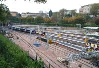 View from Waverley Bridge showing progress at the west end on 25 October 2007. Electrification masts have now been installed and the whole site is looking generally tidier.<br><br>[John Furnevel&nbsp;25/10/2007]