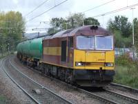60029 <I>Clitheroe Castle</I> passing through Johnstone with fuel tanks from Prestwick to Grangemouth<br><br>[Graham Morgan&nbsp;18/10/2007]