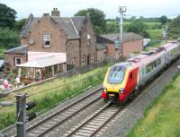 A southbound Voyager passing the former Gretna station in August 2007.<br><br>[John Furnevel&nbsp;03/08/2007]