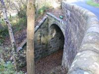 This unusual bridge over The Devon Valley Railway is on the unclassified road from Blairingone to Vicar's Bridge and is approximately half way between Rumbling Bridge and Dollar. The line closed to passenger traffic in 1964.<br><br>[Brian Forbes&nbsp;28/10/2007]