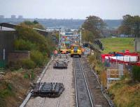 A hive of activity around Raiths Farm on 27 October, view back down the line towards Dyce station.<br><br>[Stan Scott&nbsp;27/10/2007]