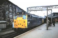 A pair of class 31 locomotives at the south end of Carlisle station in August 1985 with a train bound for the S&C line. <br><br>[David Panton&nbsp;/08/1985]