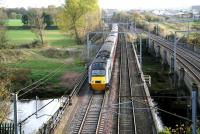 Southbound HST crossing the Eden at Etterby on 3 November as it begins to slow for the Carlisle stop. The train is on the original WCML bridge with the later (1942) bridge built to carry the goods lines alongside on the right.<br><br>[John Furnevel&nbsp;03/11/2007]