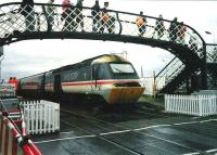 Virgin Trains 43 097 makes a stop at Carnoustie on 17 July 1999 during the Open golf championships.<br><br>[David Panton&nbsp;17/07/1999]