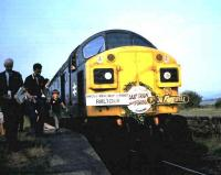 40143 stands at Coupar Angus on 5 June 1982 with the <I>Forfar Farewell</I> railtour.<br><br>[David Panton&nbsp;05/06/1982]