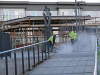 New Alloa station developing. The man & boy scupture is at the top of the ramp leading up to the framework of the new station building. The workers are paving the concourse.<br><br>[Brian Forbes&nbsp;11/11/2007]