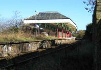The ornate canopy at Nelson station, opened by the East Lancs Railway in 1849. Still an impressive structure, although it would doubtless benefit from some refurbishment. Seen here on 8 November 2007 looking northeast towards Colne.<br><br>[John McIntyre&nbsp;08/11/2007]