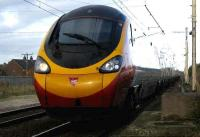 A southbound Pendolino passes Coppull on 8 November.<br><br>[John McIntyre&nbsp;08/11/2007]
