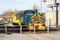 Diesel shunting locomotives 03090 and 663 stand in the yard outside the main exhibition building at Shildon on 4 November 2007.<br><br>[John Furnevel&nbsp;04/11/2007]