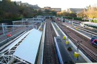 Waverley west end panorama on 14 November. Note the canopy reinstatement work currently underway. In addition to the electrification of the remaining paths through the Mound Tunnel, platforms 12-18 are also to be electrified over the Christmas holiday period.  <br><br>[John Furnevel&nbsp;14/11/2007]