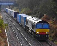 WHM Grangemouth - Aberdeen containers approaching Perth on 15 November behind DRS 66405. <br><br>[Bill Roberton&nbsp;15/11/2007]
