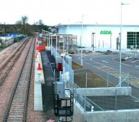 A view east from the starting signal, along the new platform at Alloa on 11 November. The scaffolding surrounds a framework which will eventually become the station building.<br><br>[Brian Forbes&nbsp;11/11/2007]