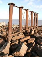 Surviving piers of the Solway Viaduct stand at the end of the embankment on the Cumbrian shore on 6 November 2007. <br><br>[John Furnevel&nbsp;06/11/2007]