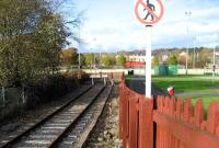 Buffer stops stand at the current terminus of the line at Colne on 9 November 2007. A double track once continued northeast from here to Skipton, the junction for Carlisle, Leeds and Bradford. A local rail action group is currently campaigning for the reopening of this route.<br><br>[John McIntyre&nbsp;09/11/2007]