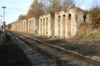 The old coal drops at Shildon seen looking west on 4 November 2007. The listed structure is now incorporated within the grounds of Shildon National Railway Museum.<br><br>[John Furnevel&nbsp;04/11/2007]