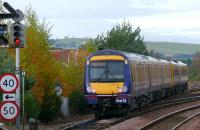 A 158/170 five car DMU leaves the main line at Ladybank and heads northwest to Collessie and Perth.<br><br>[Brian Forbes&nbsp;/11/2007]