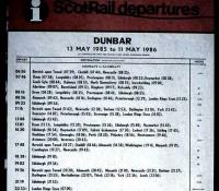 Part of a poster on display at Drem station in July 1985 showing departures from Dunbar - including an 0746 <I>Crossrail</I> service!<br><br>[David Panton&nbsp;/07/1985]