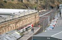 Following completion of engineering work at Waverley the old <I>sub</I> platforms have now had their former <I>through</I> status restored. View from North Bridge on 3 December 2007 showing an empty Voyager running from what is now platform 9 towards the Calton Tunnel. <br><br>[John Furnevel&nbsp;03/12/2007]