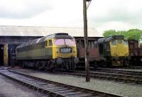 Class 47 and class 24 locomotives stand outside the shed at Ferryhill in 1974.<br><br>[John McIntyre&nbsp;/04/1974]