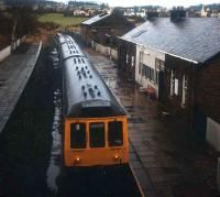 Wet and overcast day at Kilmacolm looking towards the buffer stops.<br><br>[Ian Dinmore&nbsp;//]