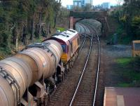 Empty tanks leaving Dalston on 18 April on the return trip to Grangemouth.<br><br>[Brian Smith&nbsp;18/04/2007]
