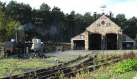 The shed at Beamish on 18 October 2006. In steam on the left stands the replica of Puffing Billy being made ready for its next run.<br><br>[John McIntyre&nbsp;18/10/2006]