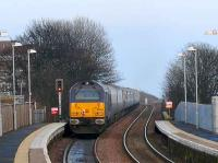 The <I>Northern Belle</I> passing Kinghorn with Royal Train class 67 no.67006 at the rear on 14 December.<br><br>[Brian Forbes&nbsp;14/12/2007]