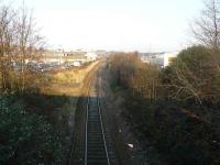 Looking north from the Powis Terrace bridge at the site of the former Kittybrewster station on the Aberdeen - Inverness main line. The platforms are still just visible, but nothing else hints at the important railway location this once was.<br> The Waterloo branch is hidden behind the trees and shrubs at the right of the shot.<br><br>[John Williamson&nbsp;17/12/2007]