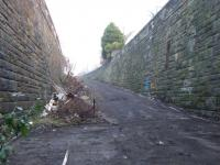 From the locked portal looking toward Parkhead Stadium Station... the top of the ramp leads to Springfield Road. This was a deep cutting in its heyday!!<br><br>[Colin Harkins&nbsp;19/12/2007]