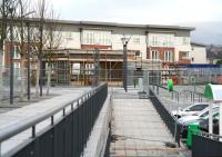 The area around the station building currently under construction at Alloa. View north along what will become the main pedestrian entrance off the A907 ring road on 18 December 2007.<br><br>[John Furnevel&nbsp;18/12/2007]