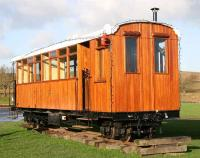 One of the coaches for use on the proposed <I>Green Dragon</I> railway displayed at Leaplish Waterside Park on Kielder Water in November 2007. Two narrow gauge, wood-burning, locomotives have been acquired to haul the trains, one of which, <I>The Green Dragon</I>, has given its name to the proposed line. [See image 17590] <br><br>[John Furnevel&nbsp;06/11/2007]