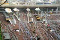 View over the west end through the rain on 28 December with platforms 14 - 17 in the hands of the engineers, along with the central Mound tunnel, where electrification work is taking place.<br><br>[John Furnevel&nbsp;28/12/2007]