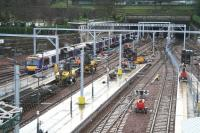 Electrification work underway on The Mound central tunnel and west end platforms on 28 December seen from Waverley Bridge. A Glasgow shuttle is arriving at platform 13, with platforms 14 - 17 cordoned off out of use. <br><br>[John Furnevel&nbsp;28/12/2007]