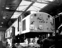 D235 <I>Apapa</I> receiving attention at Crewe diesel depot in April 1969.<br><br>[John Furnevel&nbsp;26/04/1969]