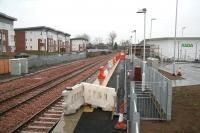 The station site at Alloa looking east through the rain on 31 December 2007, with work temporarily halted during the festive period.<br><br>[John Furnevel&nbsp;31/12/2007]