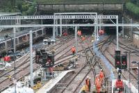Electrification work continuing at Waverley west end and The Mound central tunnel on 2 January 2008.<br><br>[John Furnevel&nbsp;02/01/2008]