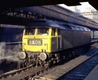 Class 47 1580 at Aberdeen in September 1973. The locomotive, having worked into platform 6 with a train from the south, is being released through platform 7.<br><br>[John McIntyre&nbsp;/09/1973]