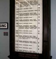 A manual, scrolling <I>departure board</I>, once a common sight at even moderately sized railway stations. This one came from Bishop Auckland and now resides in the NRM at Shildon. <br><br>[John Furnevel&nbsp;04/11/2007]