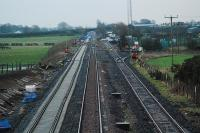View looking east at Eastriggs. The newly laid eastbound track is to the left. Other than the crossover it is not connected to the rest of the network. MOD depot to right.<br><br>[Ewan Crawford&nbsp;03/01/2008]
