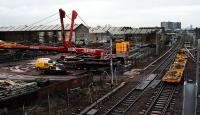 Works at Shields Road. From left: new track panels, Glasgow - Paisley Gilmour Street line.<br><br>[Ewan Crawford&nbsp;27/12/2007]