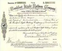 Share certificate - Bankfoot Light Railway - authorised 1898.<br><br>[Ian Dinmore&nbsp;//1898]