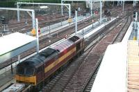 West end on 6 January with EWS 60029 <I>Clitheroe Castle</I> about to leave platform 16 with a PW/Electrification train being used in support of the ongoing work on the west end platforms and The Mound central tunnel.<br><br>[John Furnevel&nbsp;06/01/2008]