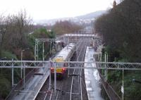 Glasgow Central bound 334004 passing through Cartsdyke on 14th January<br><br>[Graham Morgan&nbsp;14/01/2008]