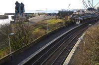 To the left of the current Burntisland station stands the original Edinburgh and Northern Railway building and train ferry pier. View southwest on 16 January 2008.<br><br>[Bill Roberton&nbsp;16/01/2008]