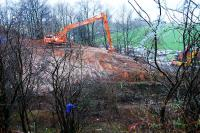 Digger preparing the embankment for stablisation just west of the twin Dalreoch Tunnels.<br><br>[Ewan Crawford&nbsp;18/01/2007]