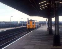 Prototype class 140 on a test run arriving at Birmingham Moor Street past waiting photographers in 1981.<br><br>[Ian Dinmore&nbsp;//1981]